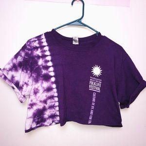 *barely worn* cropped purple tie dye t shirt